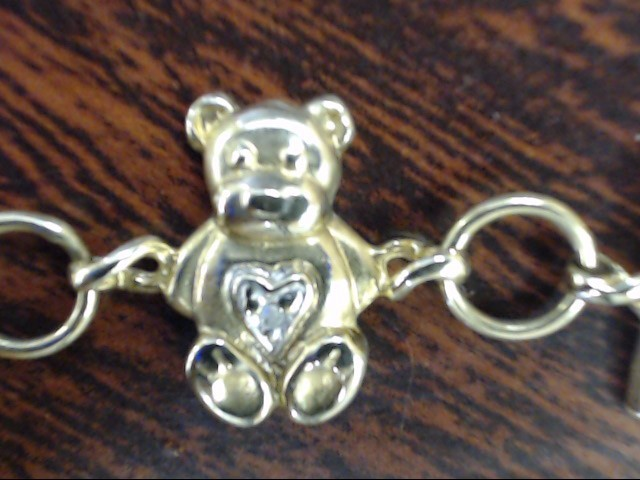 VINTAGE DIAMOND BABY CHARM BRACELET SOLID REAL 10K GOLD GIFT 7.25""