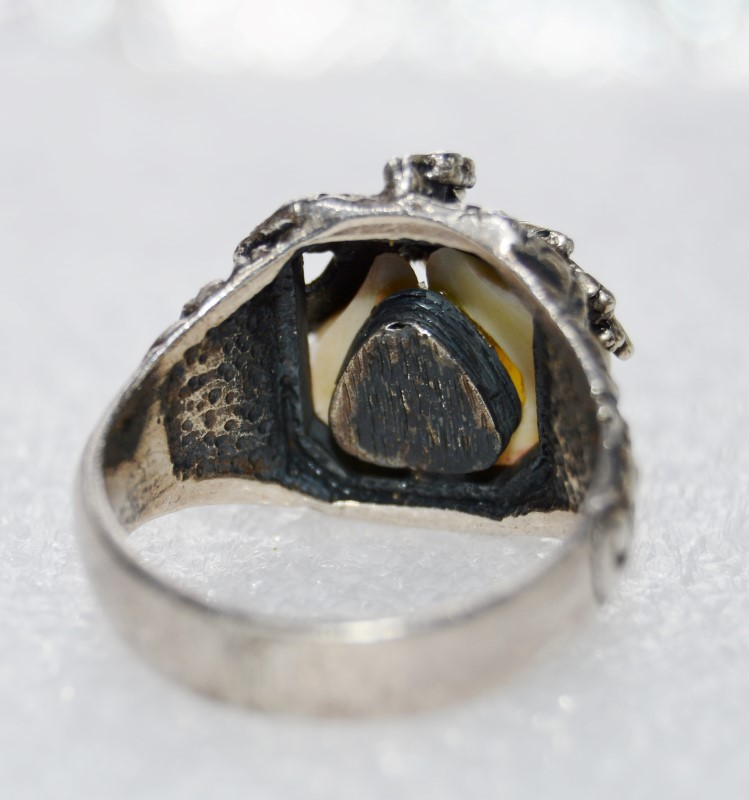 Elks Tooth Ivory Custome Made Sterling Silver Ring Size 11