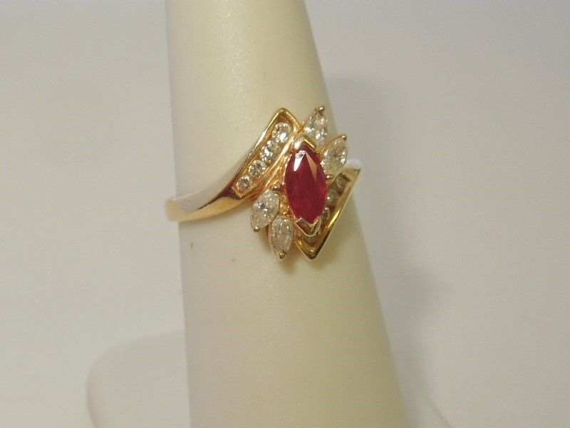 Synthetic Ruby Lady's Stone & Diamond Ring 12 Diamonds .36 Carat T.W.