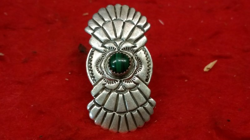 Native American Indian Getco Inc. Lady's Silver Ring 925 Silver 22.6g Size:7