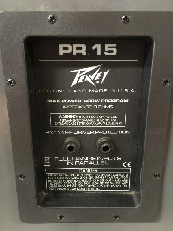 "PAIR PEAVEY PR-15 15"" 2-Way Portable PA Speakers w/Stands"