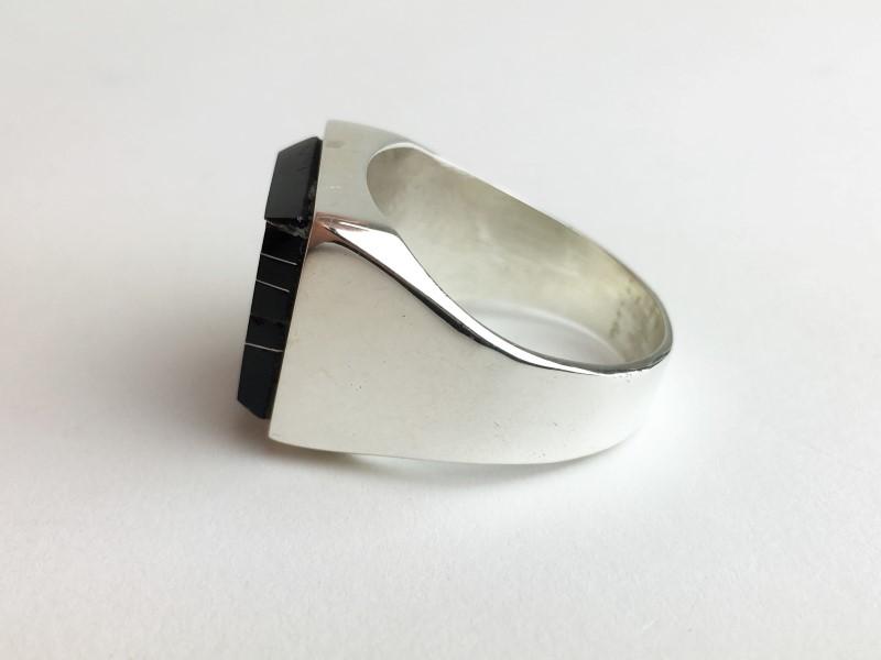 Black Onyx Sterling Silver Ring  21.3g