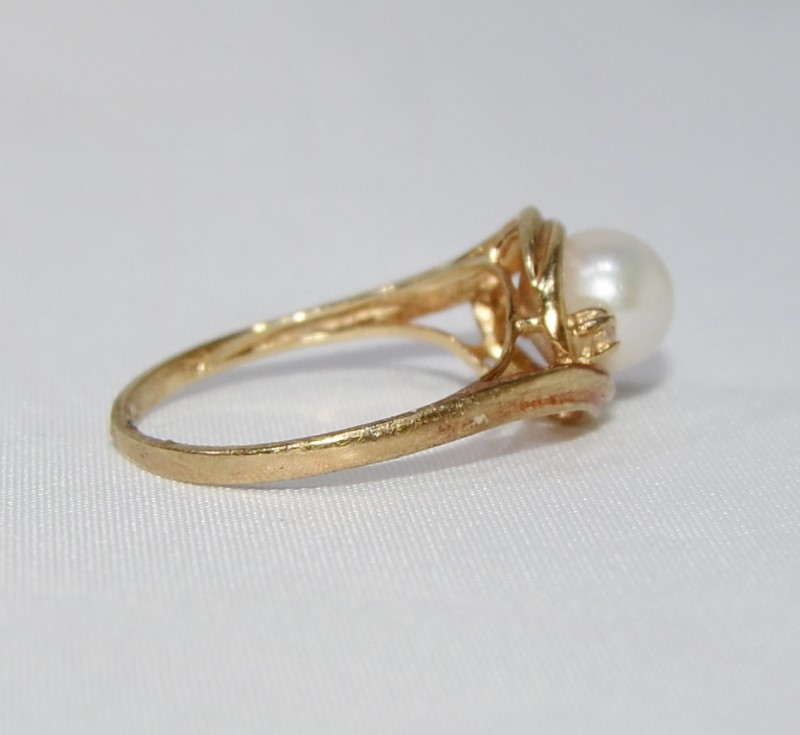 14K Yellow Gold Cathedral Set Bypass Shank Pearl & Diamond Accent Ring sz 6