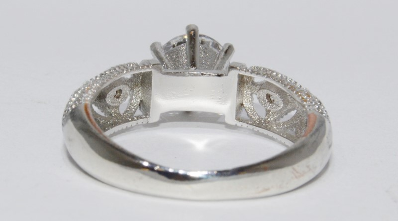 Sterling Silver Vintage Inspired Open Work Dome Design CZ Engagement Ring s 7.75