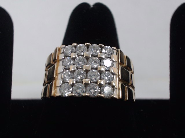 Gent's Diamond Cluster Ring 16 Diamonds 1.76 Carat T.W. 14K Yellow Gold 9.4g