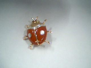Synthetic Coral Gold-Diamond-Stone Brooch 5 Diamonds .05 Carat T.W.