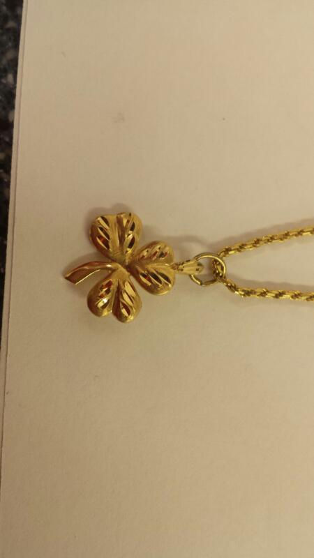 "14K-Y/G 24"" Diamond Cut Rope Chain With Three Leaf Clover Pendant"