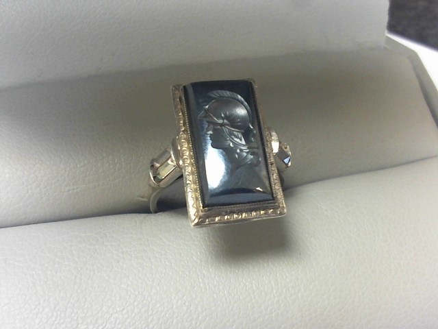 Gray Stone Gent's Silver & Stone Ring 925 Silver 5g