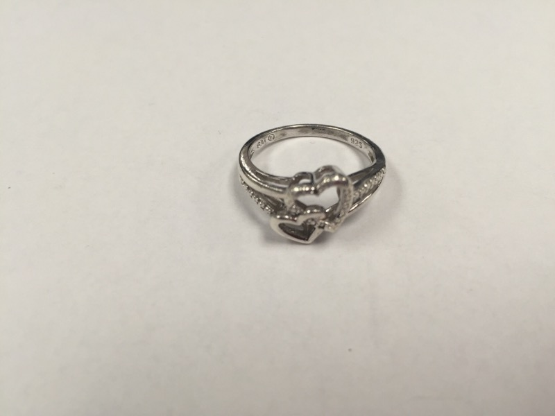 Lady's Silver Double Heart Ring 925 Silver 3g