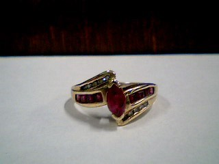 Synthetic Ruby Lady's Stone & Diamond Ring 10 Diamonds .10 Carat T.W.