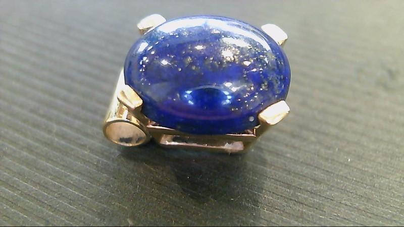 Lady's 14k yellow gold oval lapis pendant