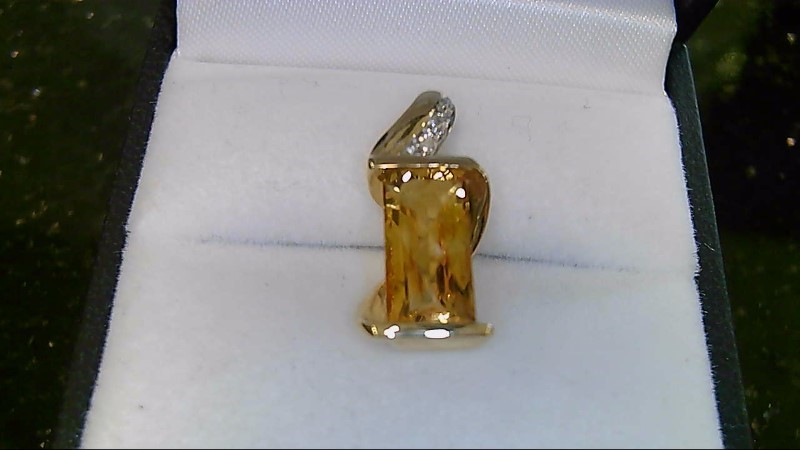 LADY'S 14K YELLOW GOLD EMERALD CUT YELLOW TOPAZ WITH 4-1MM RD DIAMOND PENDANT