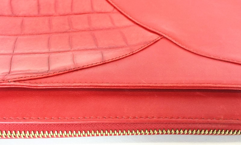 ESCADA RED LEATHER CROC PRINT SHOULDER BAG
