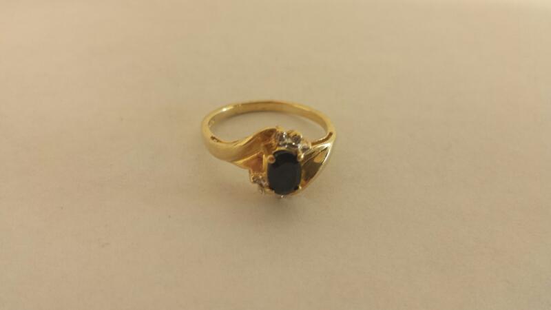 Lds 10K Blue Stone Ring