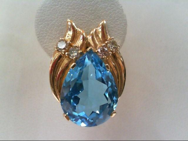 Blue Topaz Gold-Diamond & Stone Earrings 8 Diamonds .56 Carat T.W.