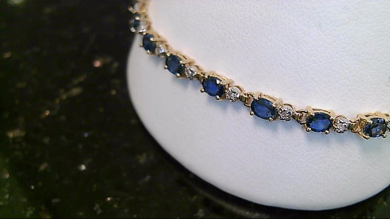 September Birthstone Sapphire and Diamond 14K Yellow Gold Bracelet