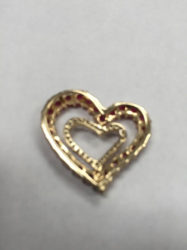 RUBY GOLD DIAMOND WITH 30 DIAMONDS DOUBLE HEART  .30 Carat T.W.