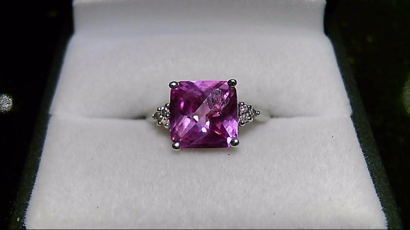 Synthetic Pink Sapphire Lady's Stone & Diamond Ring 6 Diamonds .06 Carat T.W.