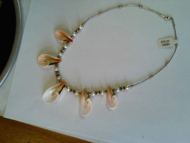"""SILVER PEARL AND SEE SHELL NECKLACE 16"""" .925 SILVER CLASP MAYBE MAN MADE"""