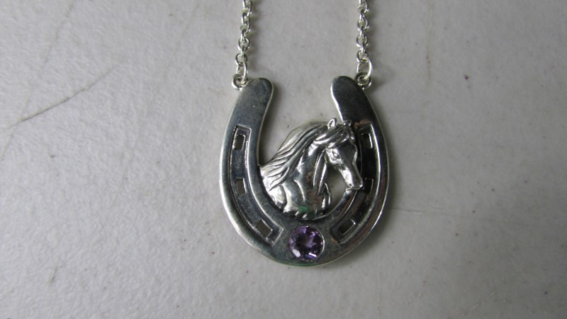 Amethyst Stone Necklace 925 Silver 16.5g