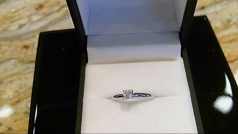LADY'S 14K WHTIE GOLD .19CT ROUND DIAMOND SOLITAIRE RING