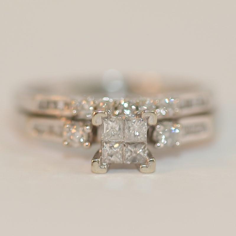 10K White Gold Multi-Cut Diamond Wedding Ring Set Size 7