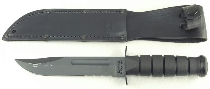 "KA-BAR FULL SIZE BLACK FIXED BLADE FIGHTING KNIFE 7"" USA 1211 w/Leather Sheath"