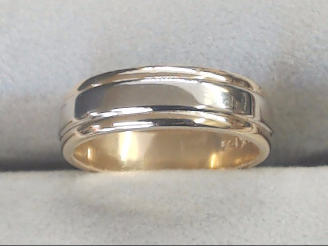 ESTATE SOLID REAL 14K GOLD WEDDING RING BAND ETERNITY DESIGN 2 TONE