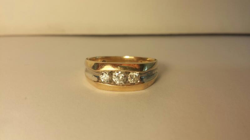 Gent's Wedding Band 3 Diamonds .50 Carat T.W. 14K Yellow Gold