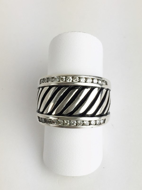 David Yurman Diamond Ring 24 Diamonds .48 Carat T.W. Sterling Silver Ring