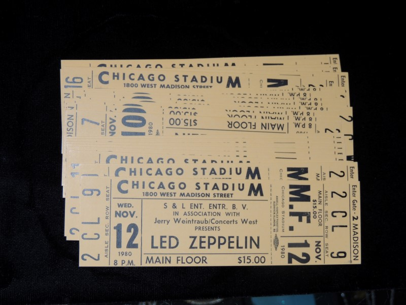 Pair of Led Zeppelin Concert Tickets Nov 12, 1980 The Show That Never Happened