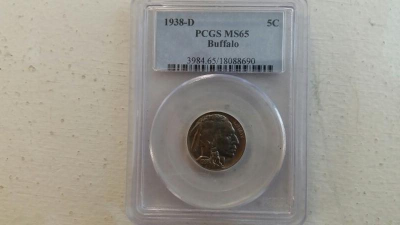 1938 D Denver Mint Indian Head Buffalo Nickel 5c PCGS Graded MS65