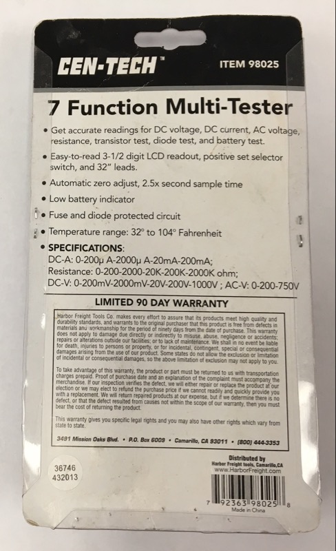 CEN-TECH MULTIMETER 98025