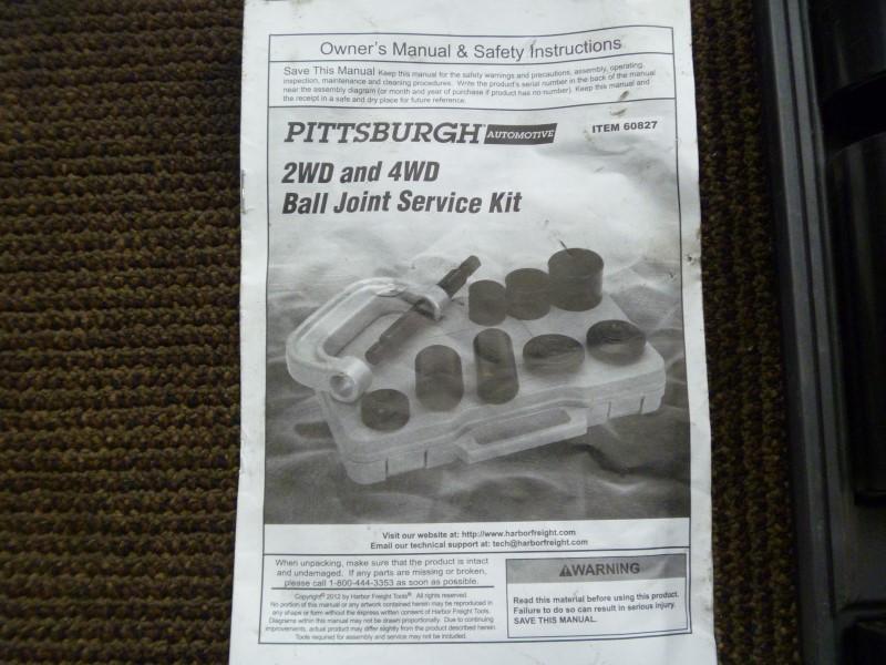 PITTSBURGH AUTOMOTIVE SHOP EQUIPMENT MODEL NO.60827