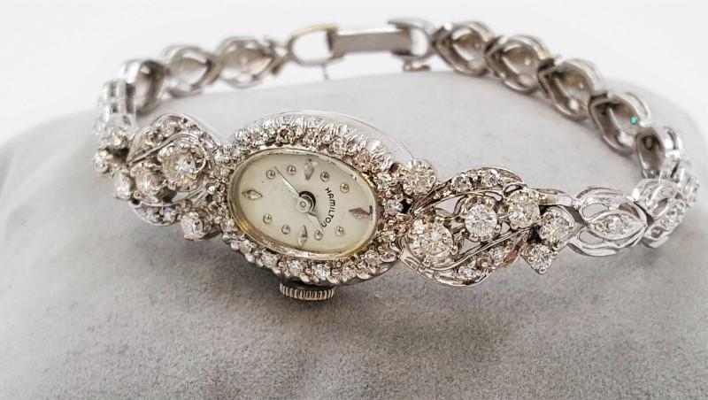 Hamilton Vintage Art Deco Diamonds & White 14K Gold Wind Up Movement