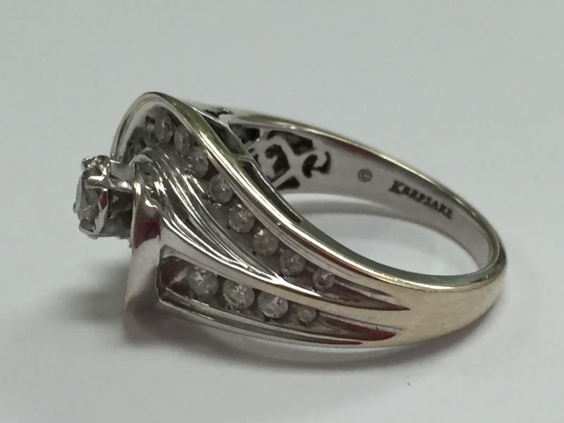 Lady's Diamond Engagement Ring 24 Diamonds .84 Carat T.W. 14K White Gold 7.46g