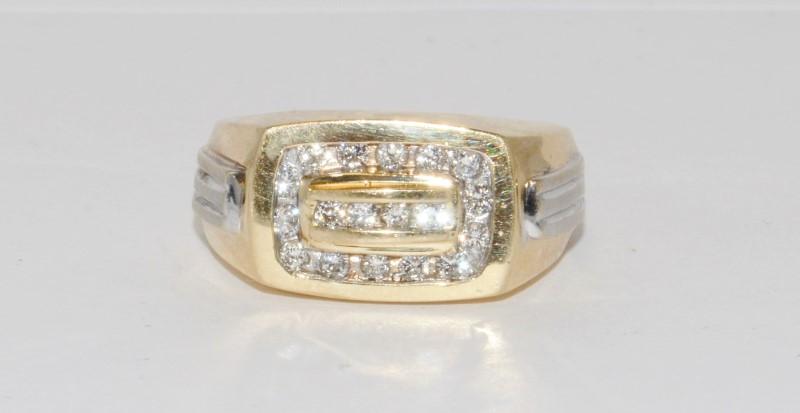 14K Men's Yellow Gold & Channel Set Diamond Ring Size 11.5