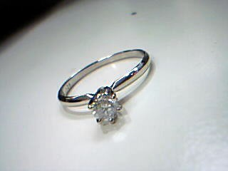 Lady's Diamond Solitaire Ring .20 CT. 14K White Gold 1.5g Size:7.5