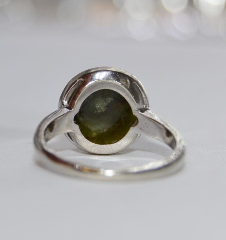 14K White Gold Vintage Inspired Full Bezel Set Dark Green Jade Statement Ring 6