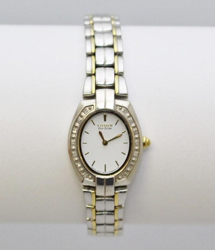 Citizen Eco-Drive Women's Two Tone Diamond Bezel White Face Bracelet Watch