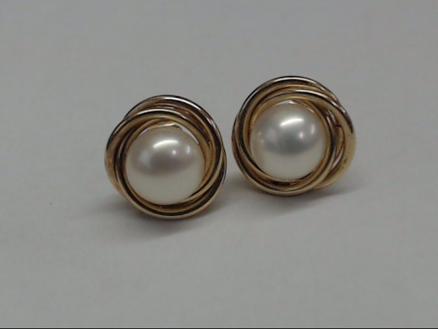 Synthetic Pearl Gold-Stone Earrings 14K Yellow Gold 1.2g