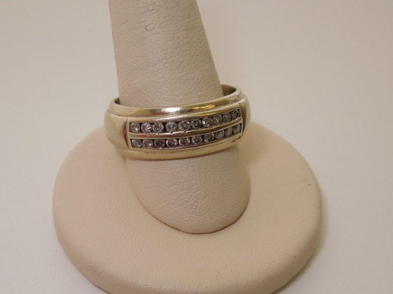 Gent's Gold-Diamond Wedding Band 20 Diamonds .60 Carat T.W. 14K White Gold 9g