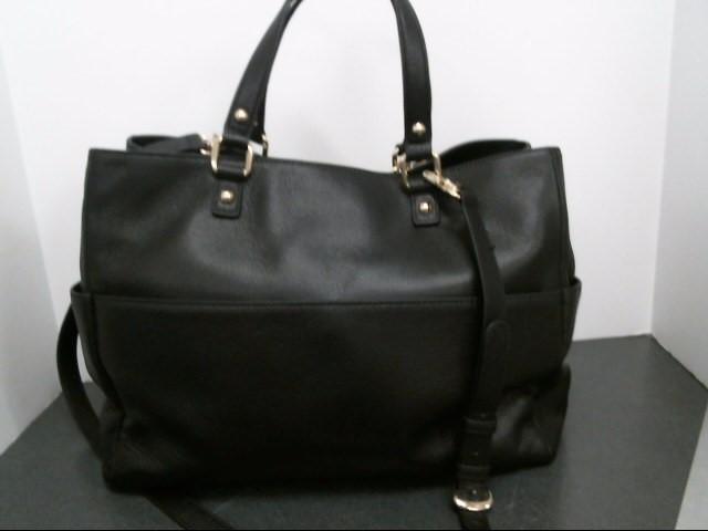 DKNY Handbag BLACK LEATHER HANDBAG WITH TLOCK