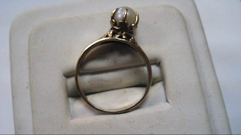 Pearl Lady's Stone Ring 10K Yellow Gold 2.1g Size:7