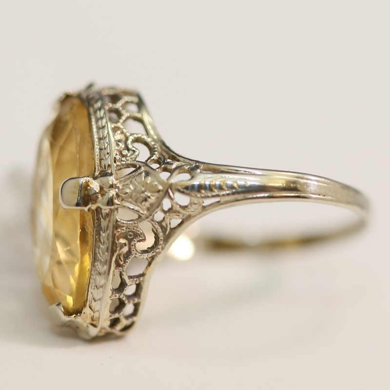 Antique Oval Cut Citrine Ring With Exquisite Side Detail Size 7.5