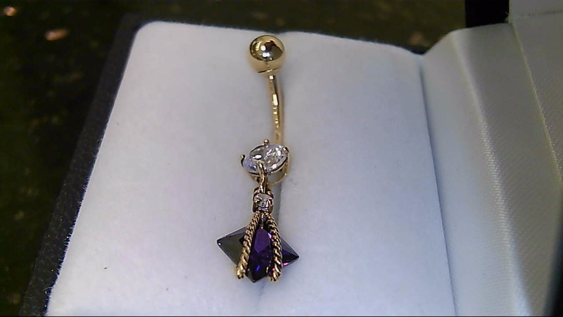 Lady's 10k yellow gold amethyst and round cublic zirconia belly ring