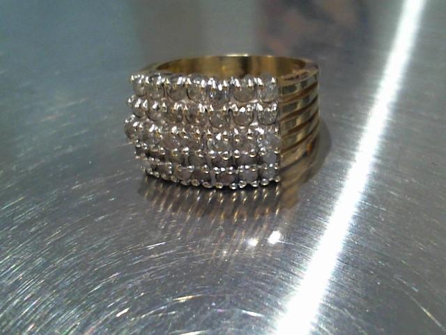 Lady's Diamond Cluster Ring 35 Diamonds .70 Carat T.W. 14K Yellow Gold 6g