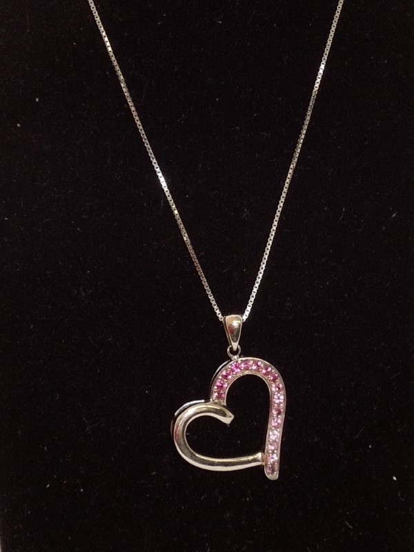 """18"""" Pink Stone Stone Necklace 14K White Gold 4.2g"""