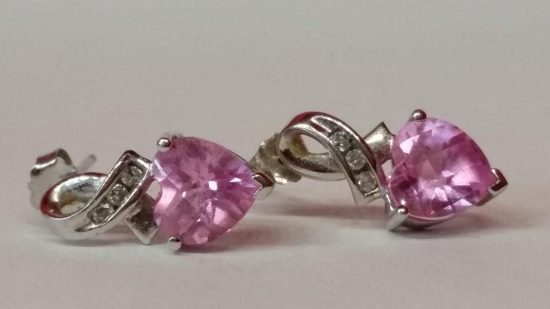 Pink Stone Gold-Diamond & Stone Earrings 6 Diamonds .06 Carat T.W.