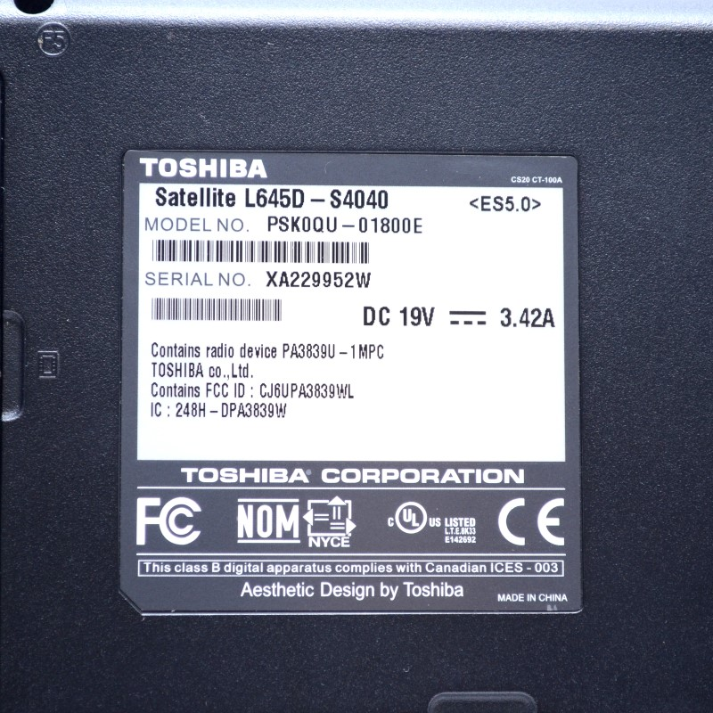 Toshiba Satellite L645D Laptop AMD Athlon II 2.10GHz 3GB 250GB HDD>